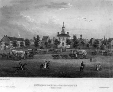 Reproduction of an engraving of the first Jackson County courthouse in Independence, Missouri, probably dated around 1844.