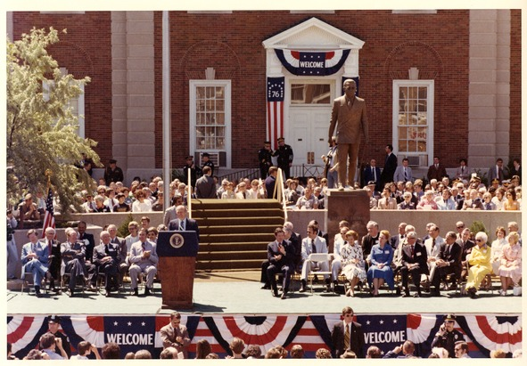 President Gerald Ford speaks at the dedication of the Harry S. Truman statue in front of the Jackson County Courthouse in Independence, Missouri.