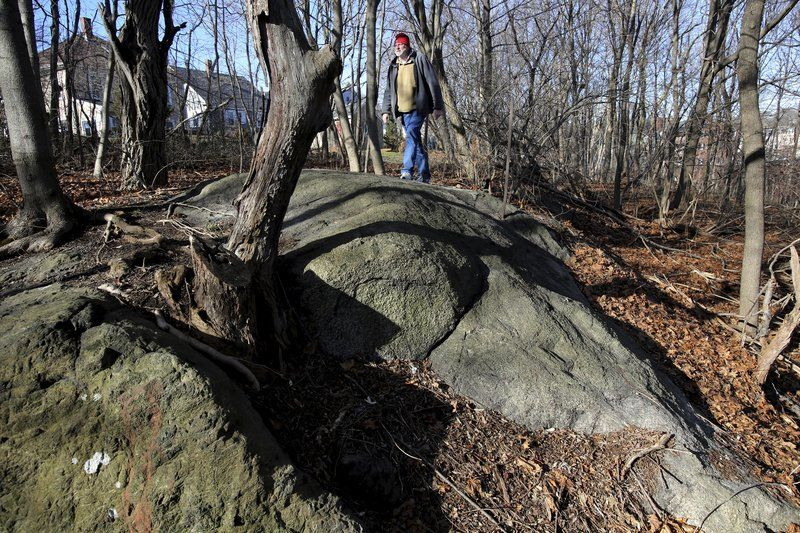 Professor Emerson Baker, a member of the Gallows Hill Project, walking along Proctor's Ledge