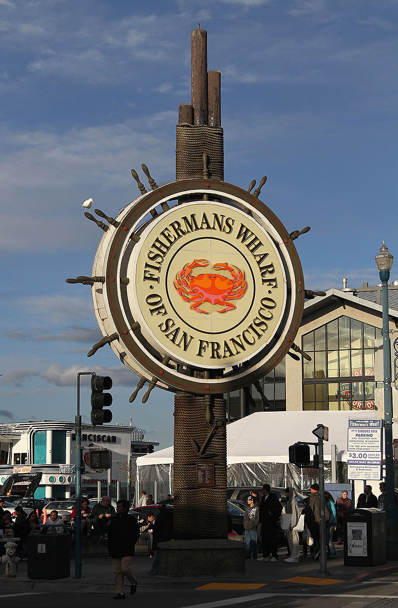 The Fisherman's Wharf sign not far from Pier 39.