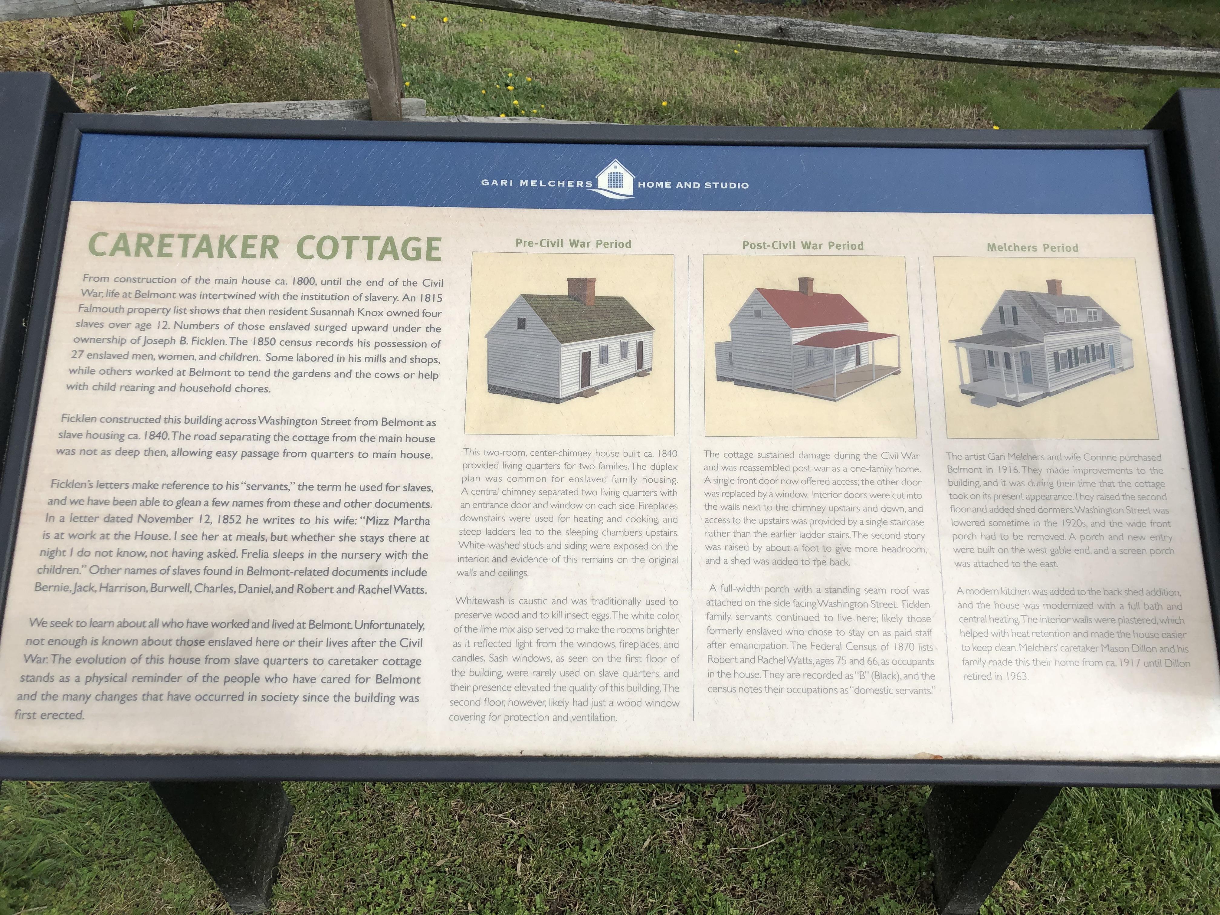 Caretaker Cottage marker