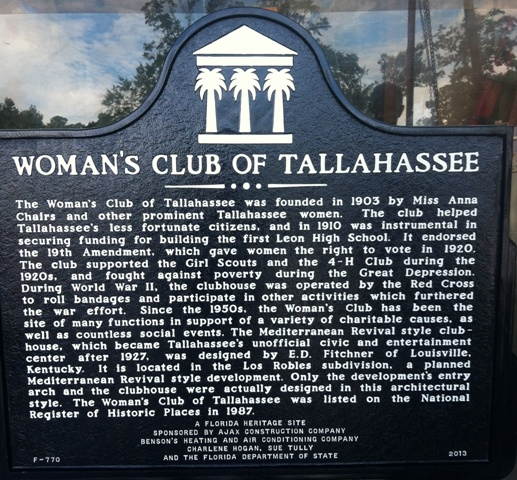 This historical marker describes the history of the club.