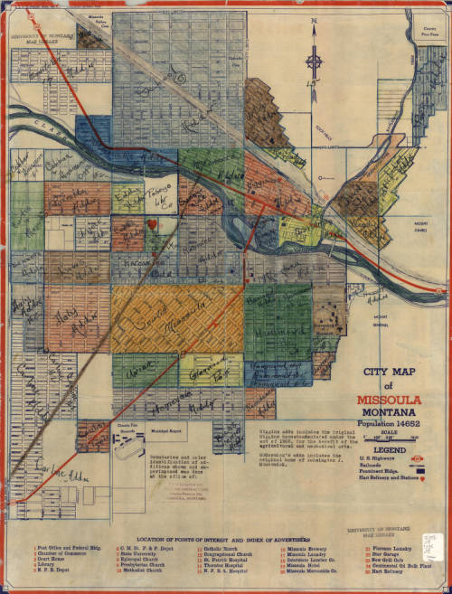 """1936 Map of Missoula. St. Francis Xavier Church is Marked """"11"""" Under """"Locations of Points of Interest"""" as """"Catholic Church"""""""