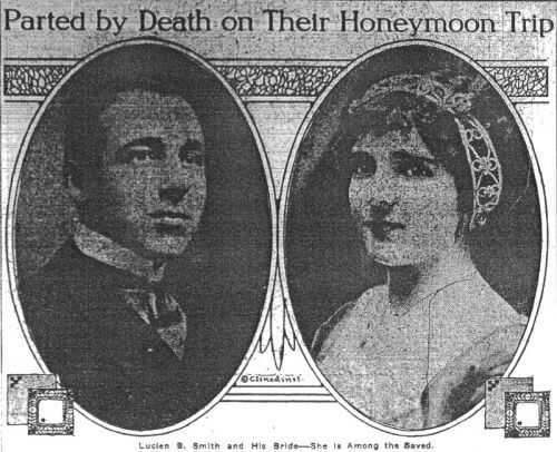 Lucian Philip Smith and Eloise Hughes Smith in The New York Times following the sinking (1912)