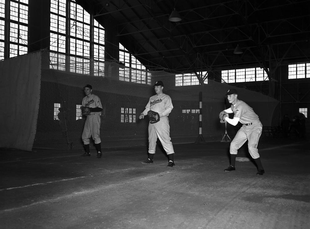 """Photographic Services. """"Indianapolis Indians in the Fieldhouse"""". March 28th, 1943.  Fieldhouse/Wildermuth Intramural Center. Accessed March 10th, 2020. Courtesy of  Indiana University Office of University Archives and Records."""