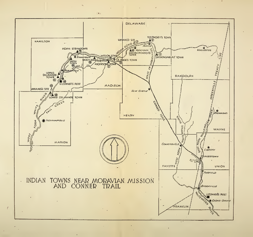 "Map showing the location of Tetepachsit's Town, also known as Muncee Town and Wapakamikunk (present-day Muncie, Indiana). Map taken from ""Sons of the Wilderness"" pg. 43."