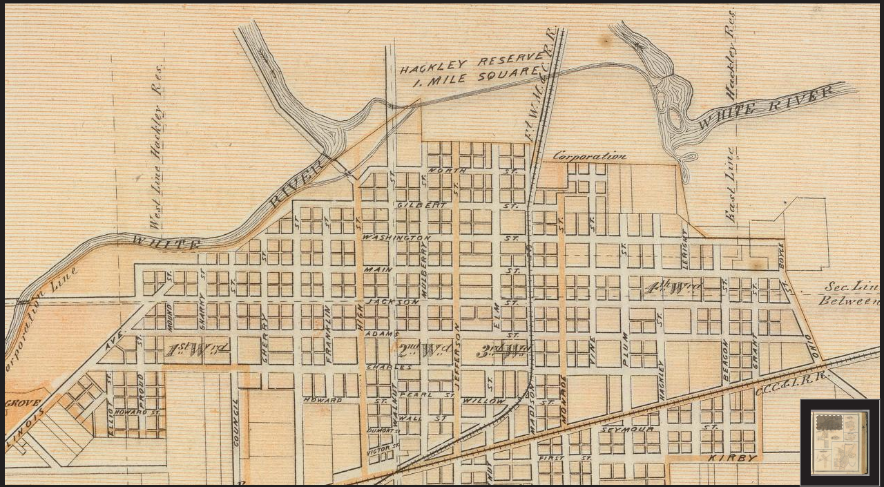 This is part of a Muncie Township map from 1876. At the top center is part of the Hackley Reserve, which intersects with present day Minnetrista.