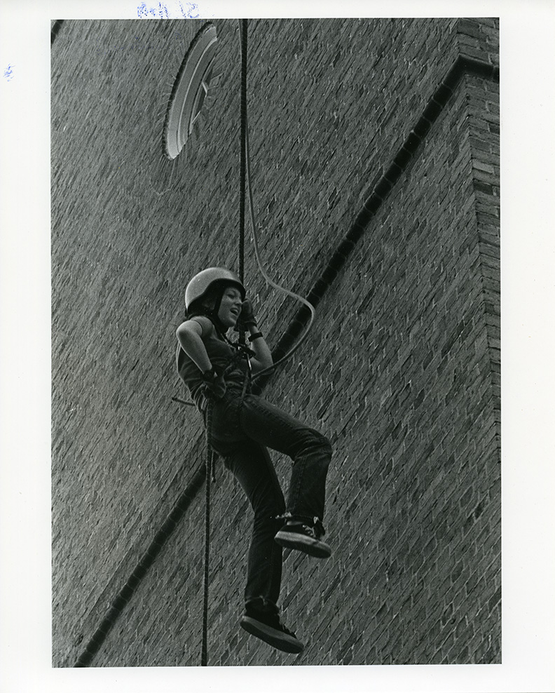 Rapelling on the Memorial Bell Tower, Search and Rescue, 1976