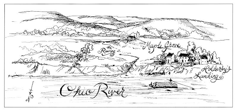 An artist's conception of Holderby's Landing- Artwork by Margaret Gripshover in Ralph Turner, Marshall Memories, p. 8