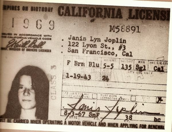 Joplin's license, which gives her address as 122 Lyon