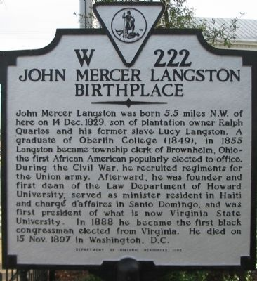Historical Marker Noting Langston's birthplace.