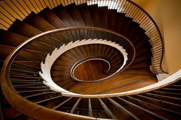 The famous staircase inside the mansion