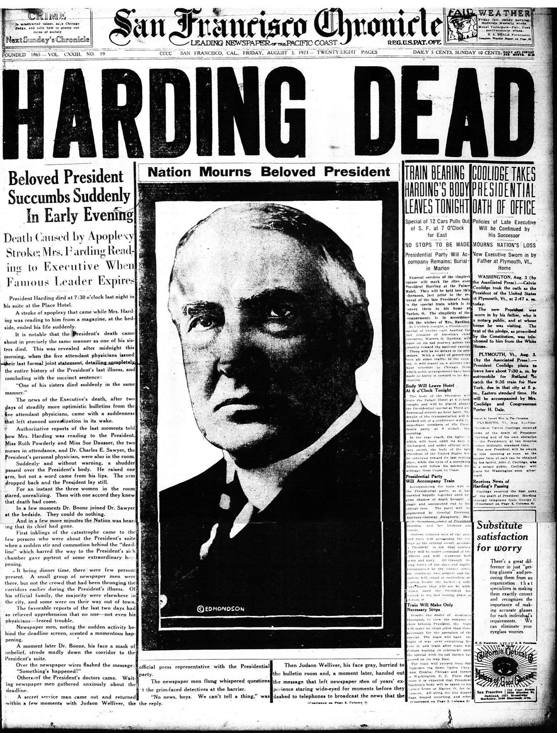 A newspaper account of President Harding's death