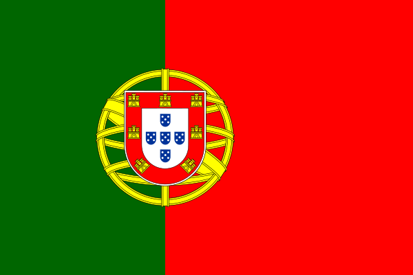 Portugal's modern flag, adopted in 1911, includes a simple version of the national coat of arms. The flag was traditionally white and blue and changed to green and red after the 1910 Republican revolution. Wikimedia Commons.