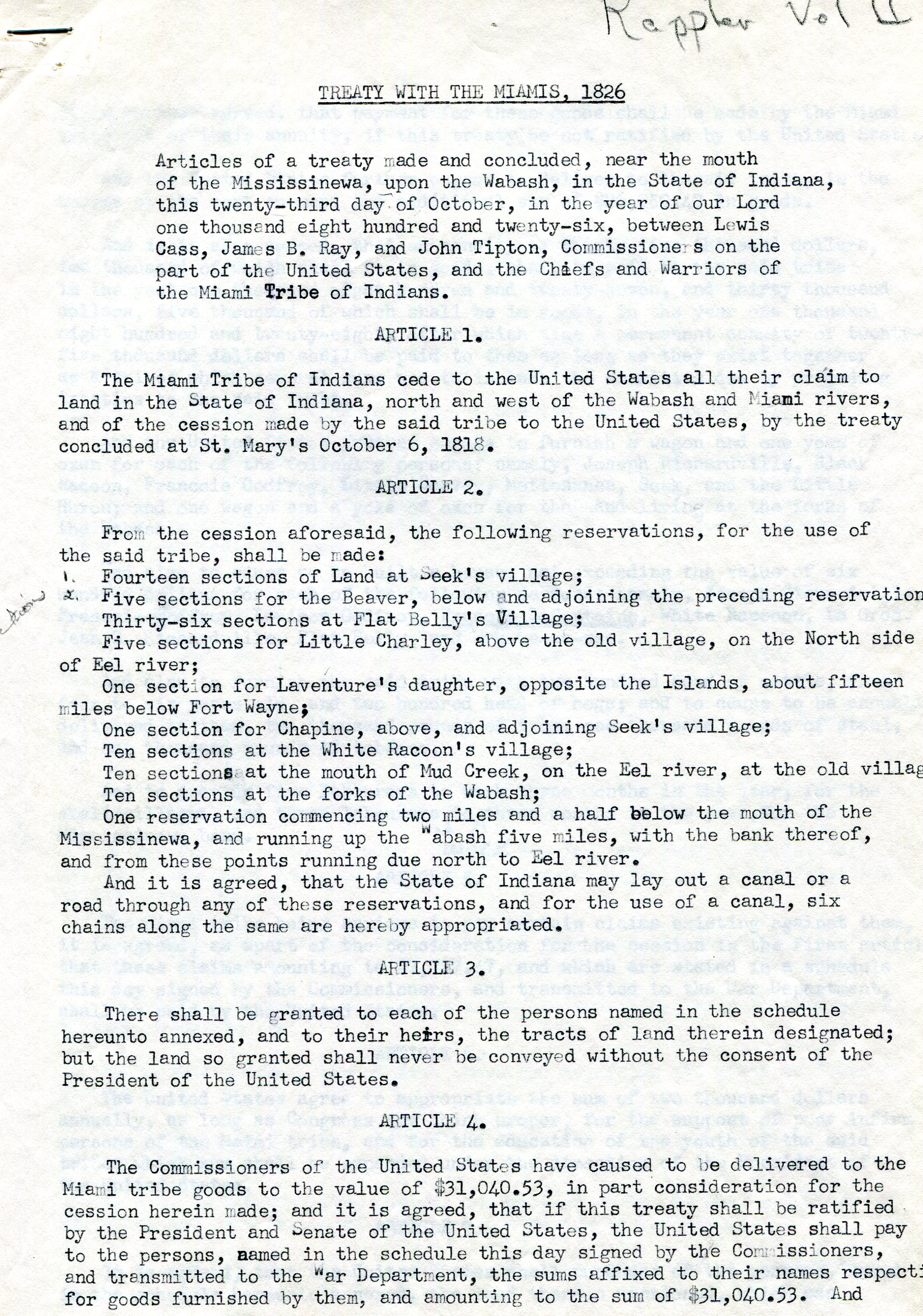 Page one of the Treaty of Miami 1826. The Treaty discusses the terms in which the Miami Nation would cede their lands North and West of the Wabash and Miami rivers to the federal government.