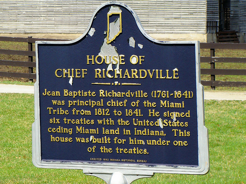 Sign located outside the Chief Richardville House for interpretive purposes.