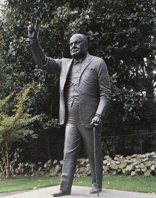A statue of Winston Churchill on the Embassy's landscaped grounds. Photo by Carol Highsmith, Library of Congress.