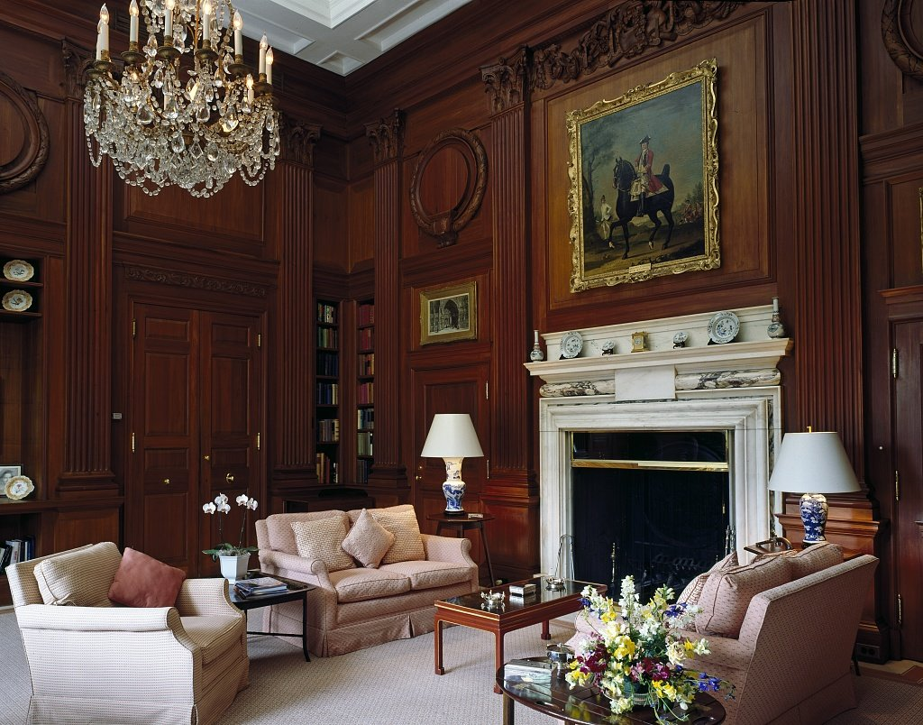 The beautiful library inside the Ambassador's Residence. Photo by Carol Highsmith, Library of Congress.