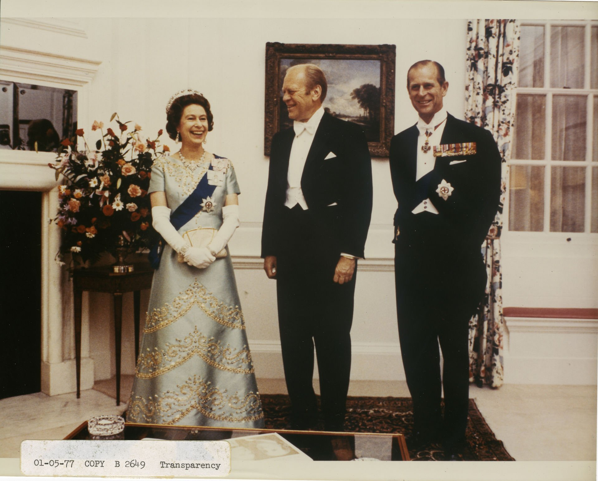 Queen Elizabeth II and the Duke of Edinburgh meet with President Gerald Ford at the British Embassy in July 1976. Photo courtesy of the White House Photographic Office.
