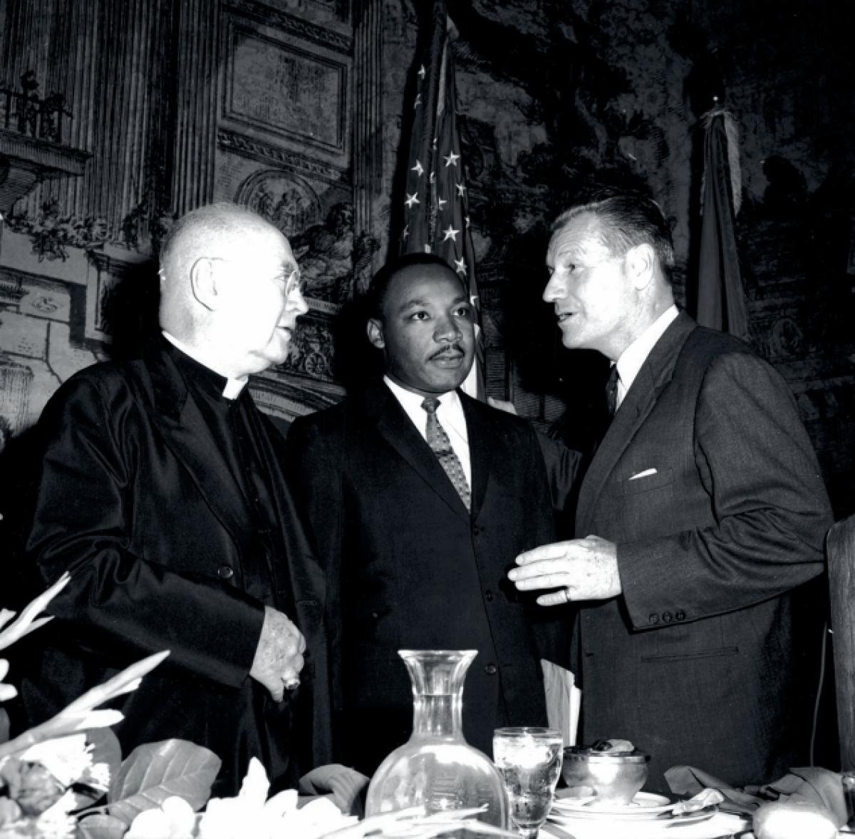 Nelson Rockefeller invited King to speak and is pictured with King at the hotel along with Cardinal Francis Spellman on the left.