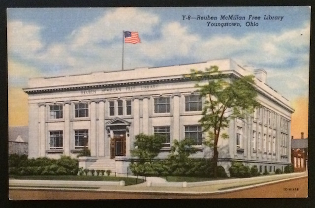 The Youngstown Public Library as depicted by a postcard from the 1920s-1940s.