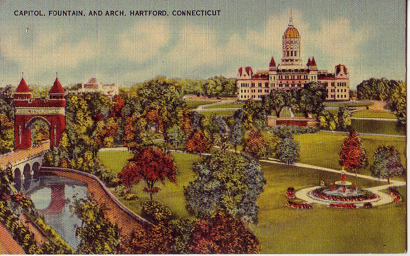 Vintage postcard of the Capitol and Bushnell Park (Connecticut State Capitol Tours)