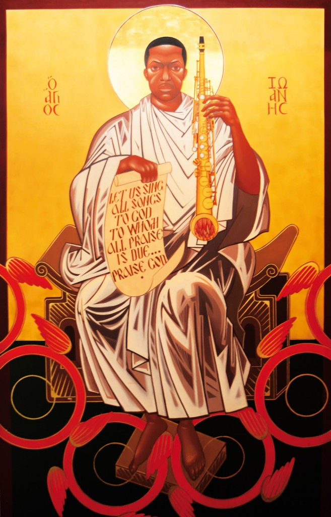 A mural of Saint John Coltrane at the church's former location on Fillmore Street