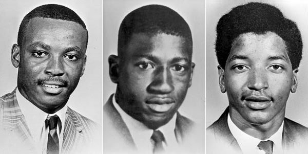 The three students shot and killed during the Orangeburg Massacre.