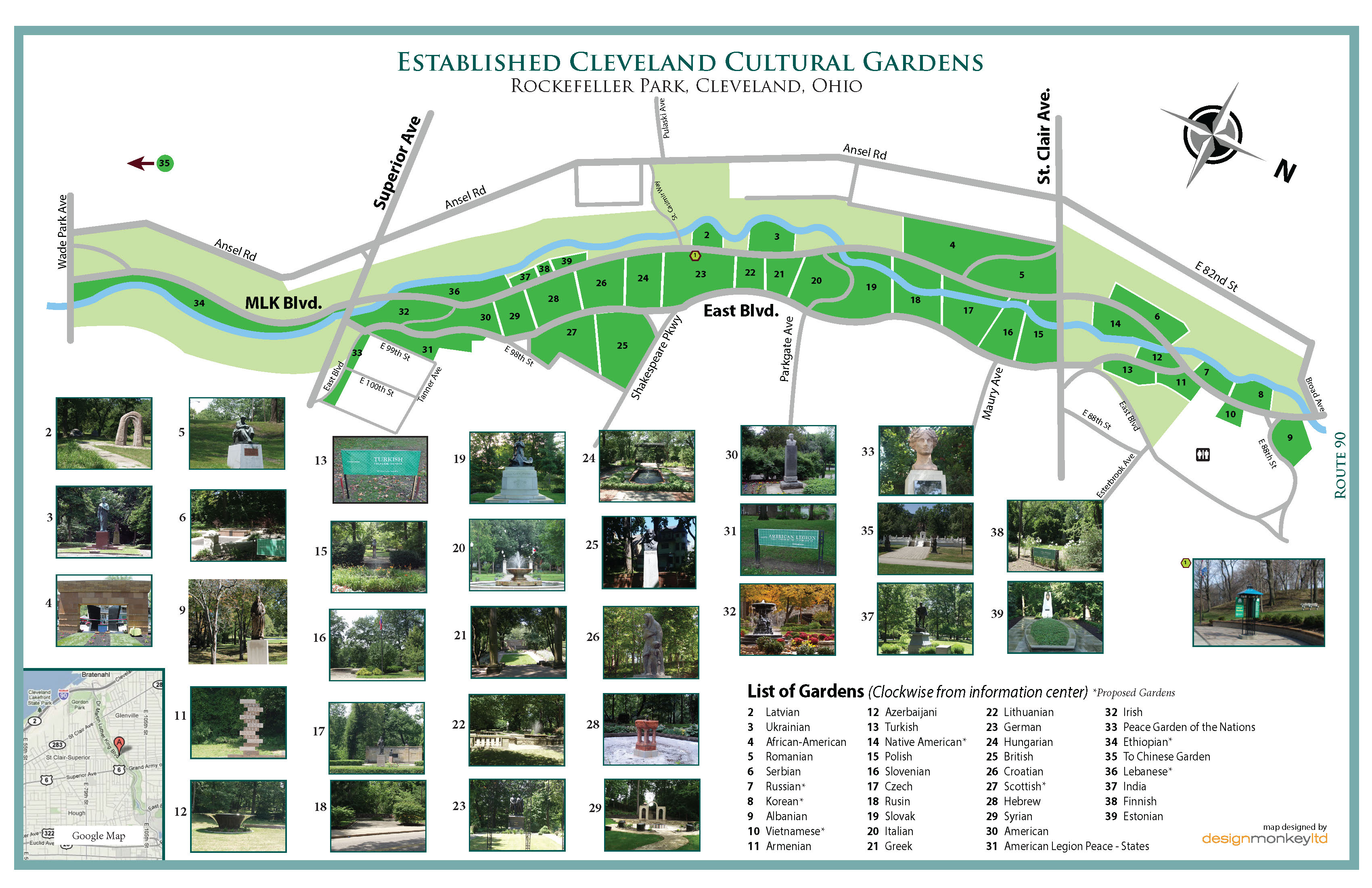 Map of the Cleveland Cultural Gardens