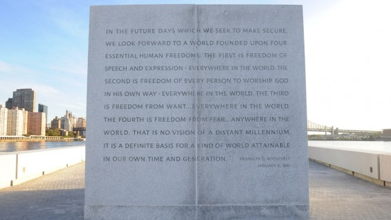 The park includes a number of monuments, such as this which includes a portion of the Four Freedoms Speech.