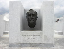The park includes a bust of FDR among the many monuments.