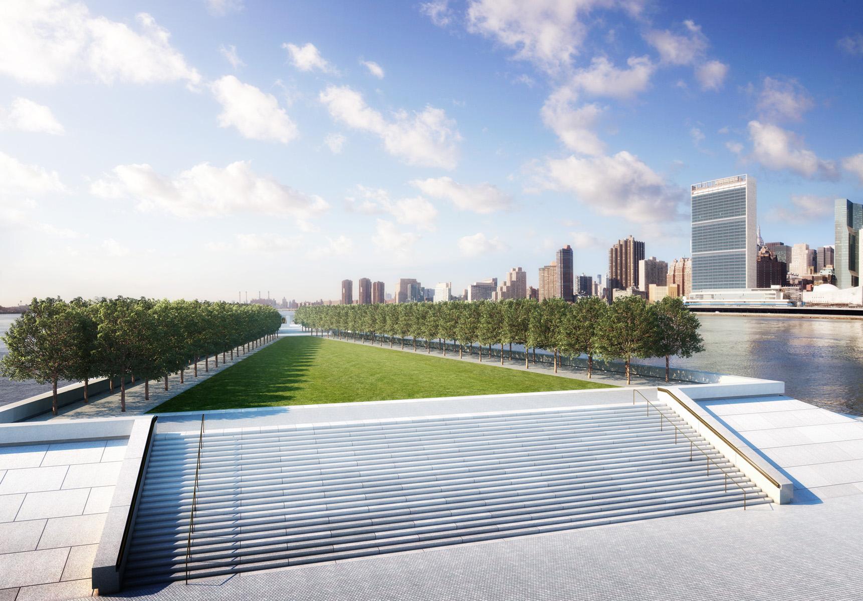 The Four Freedoms Park against the New York skyline.