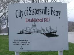 Sign for the ferry in Sistersville, West Virginia