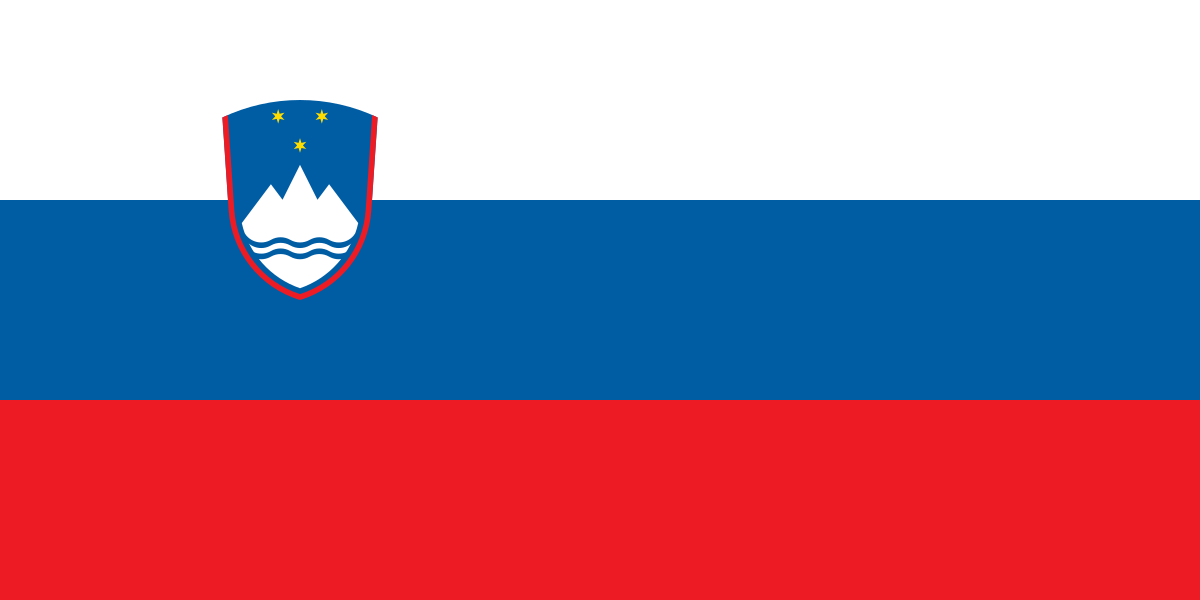 This flag was adopted in 1991. The coat of arms includes an image of Mount Triglav, the country's highest peak. The blue represents local rivers and the Adriatic Sea. The three colors have represented Slovenian unity since the nineteenth century.