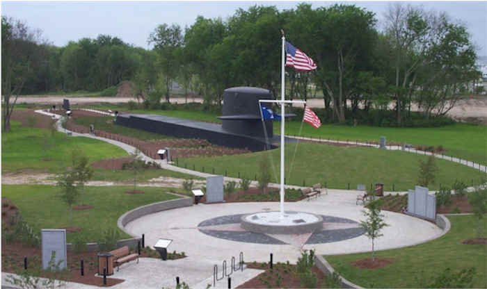 Flag View of Cold War Submarine Memorial