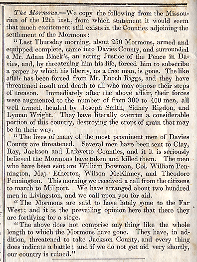 Newspaper article describing open conflict and threats from the Mormons in and around Daviess County