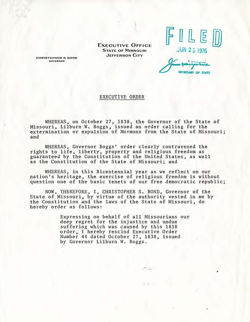 June 25, 1976, Missouri Governor Christopher Bond rescinds Mormon Extermination Order.