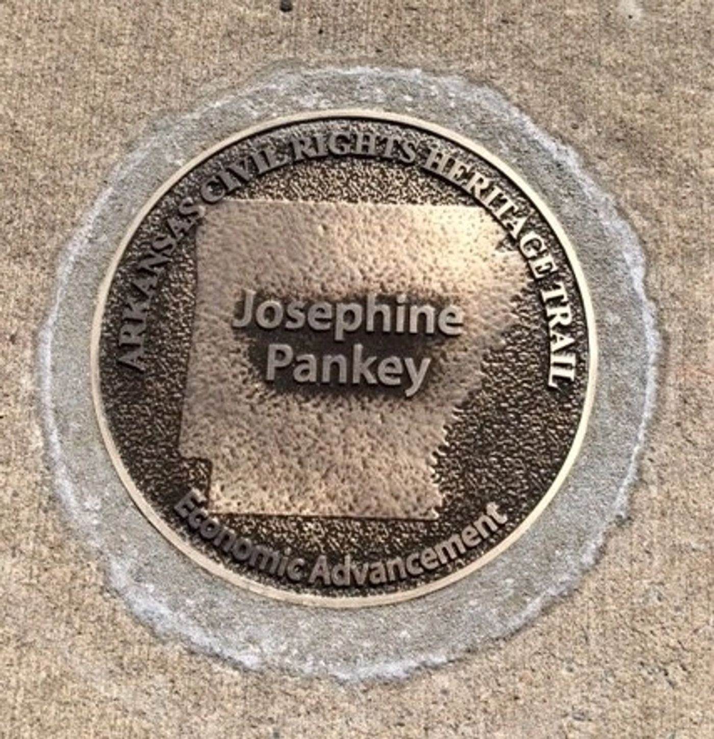 A bronze marker commemorates the contributions of Josephine Pankey to Arkansas and African American communities.