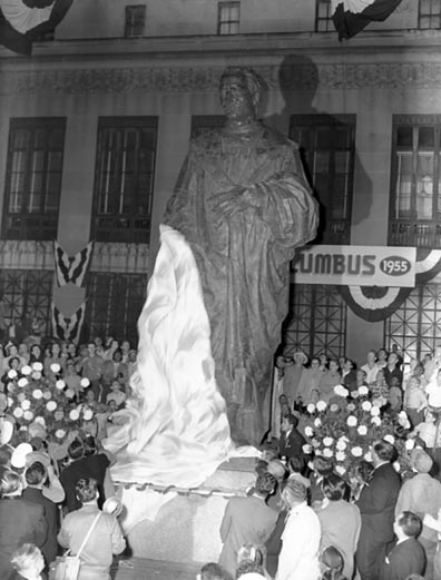 The unveiling of the Christopher Columbus Statue on October 12, 1955 outside of City Hall.