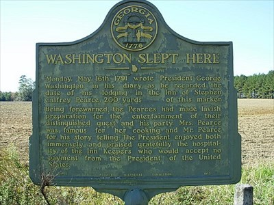 "Historical marker, ""Washington Slept Here"""