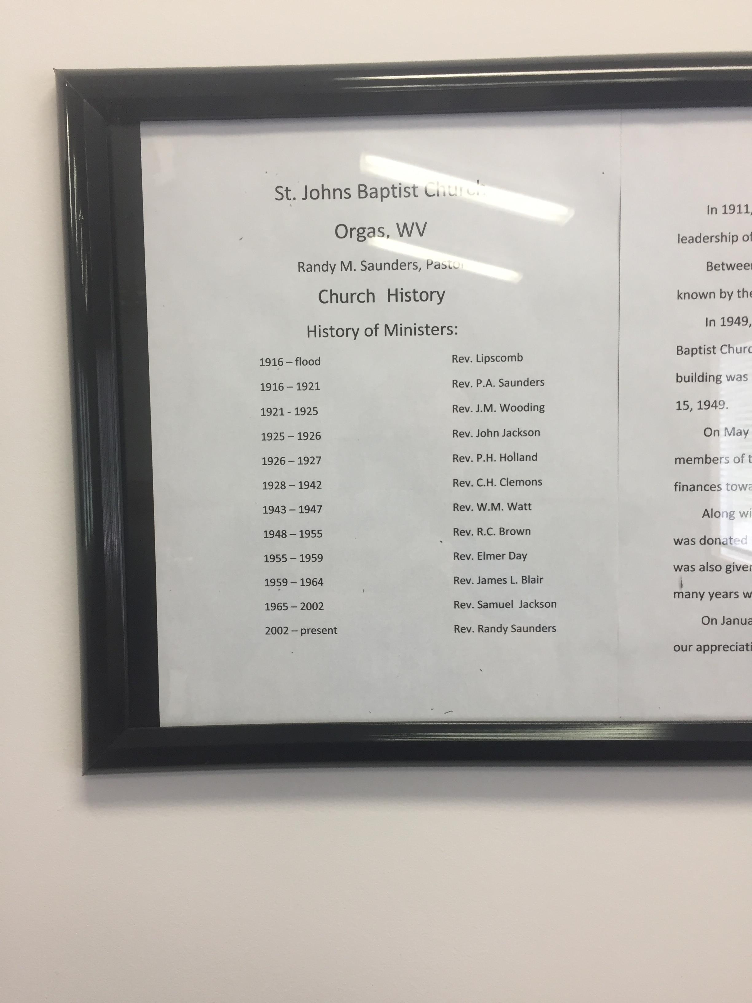 A list of ministers throughout the history of the churches, dating back to 1916.