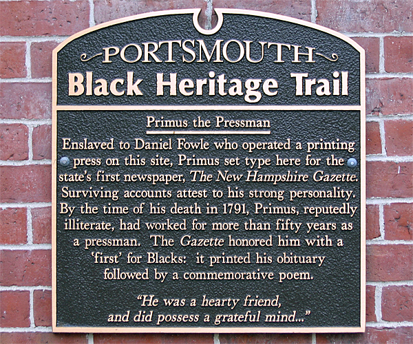 Plaque for Primus the Pressman.