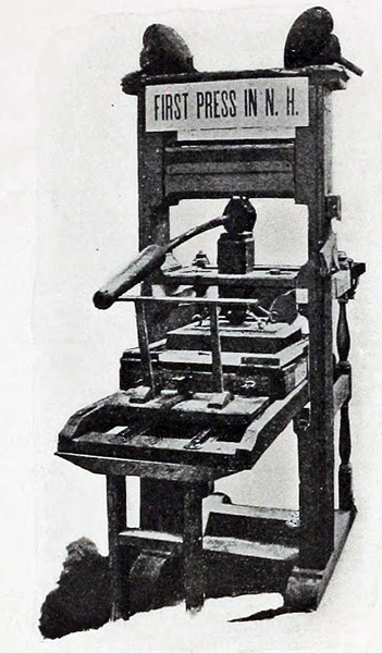 Picture of the first press in NH