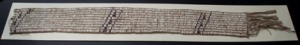 A wampum belt from the Treaty of Greenville, on display at the museum. This belt was used as a symbol of peace, as Tecumseh gave it to William Henry Harrison.