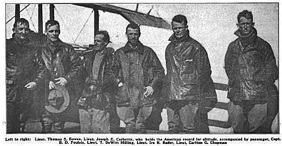 1st Aero Squadron pilots at Ryan's Pasture, Novemeber 19, 1915.  Captain Benjamon Fouolois, (third form the left), Commanding Officer and father of the Air Force.