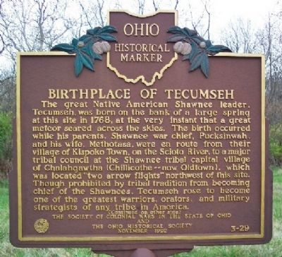 An Ohio State historical marker depicting the birthplace of Tecumseh. There are no known images of Tecumseh.