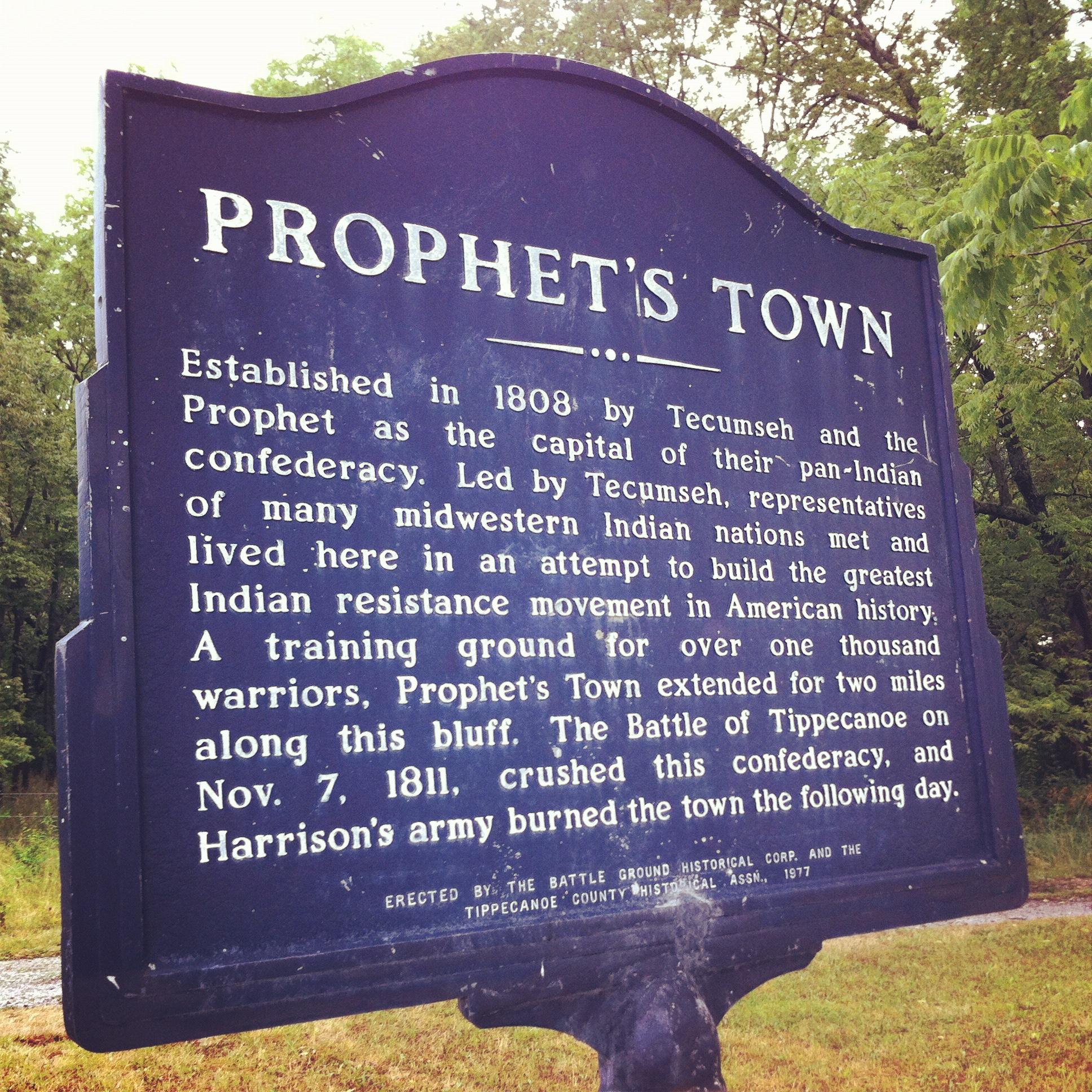 Historic marker of Prophetstown.