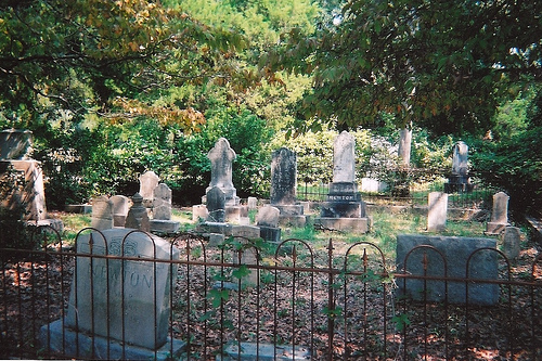 Some of the tomb stones in the cemetery