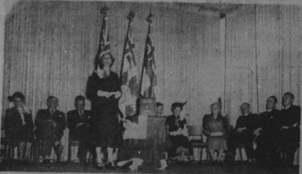 "Image from the ceremony that took place at the London Public Library, where the ""Book of Remembrance"" was presented, 1950"