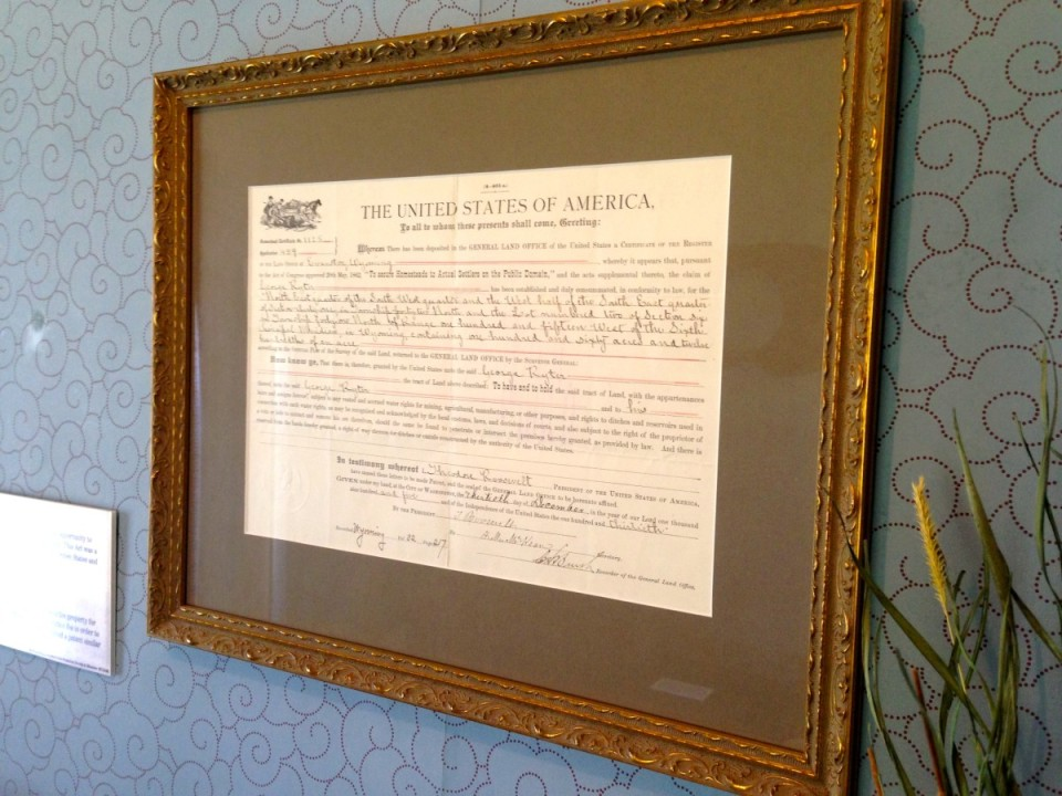Framed authentic homestead documents